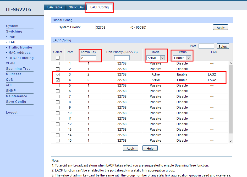 How to Enable IEEE 802.3ad Dynamic Link Aggregation in DSM using TP-Link TL-SG2216 Switch